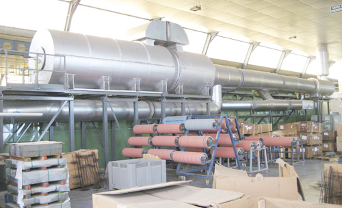General view of the installation with recuperative thermal oxidizer